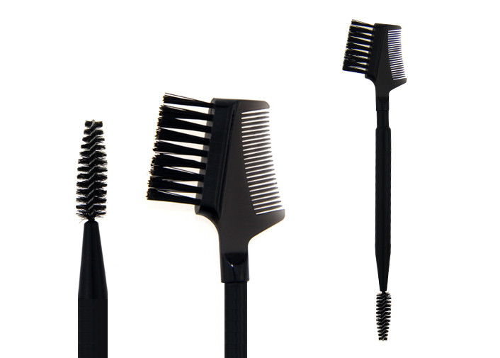 Plastic Handle Double End Eyebrow Brush With Black Synthetic Hair