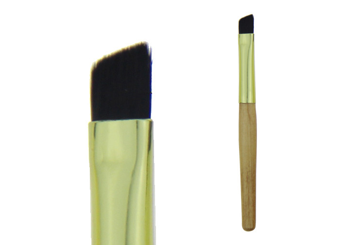 Black Nylon Hair Short Wood Handle Blending Face Brush For Eyebrow
