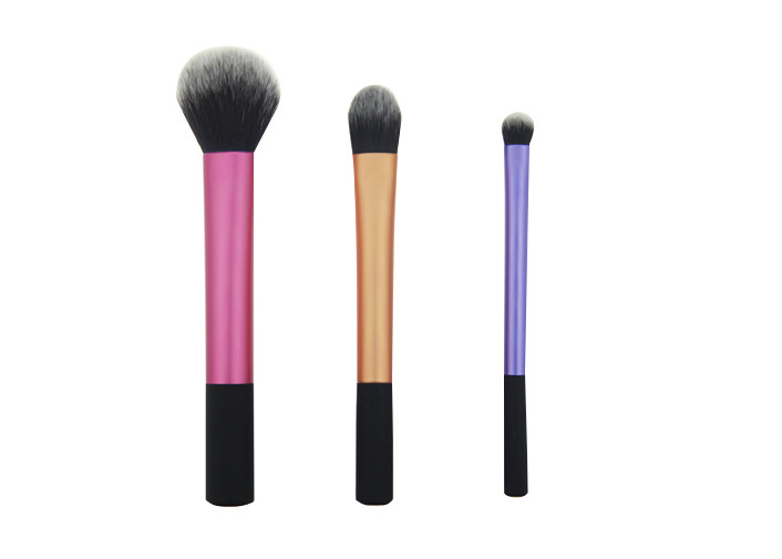 Black Rubber Handle Travel Size Makeup Brushes 108g Three Pieces