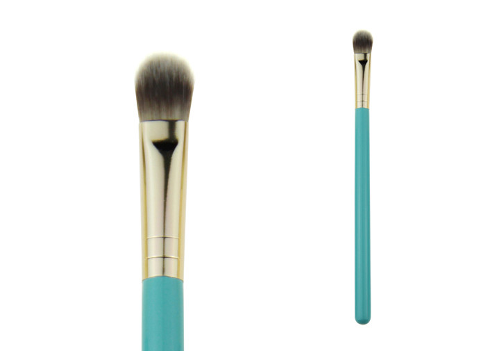 Grey Nylon Hair Tapered Blending Brush Gold Aluminum Ferrule With Blue Wooden Handle