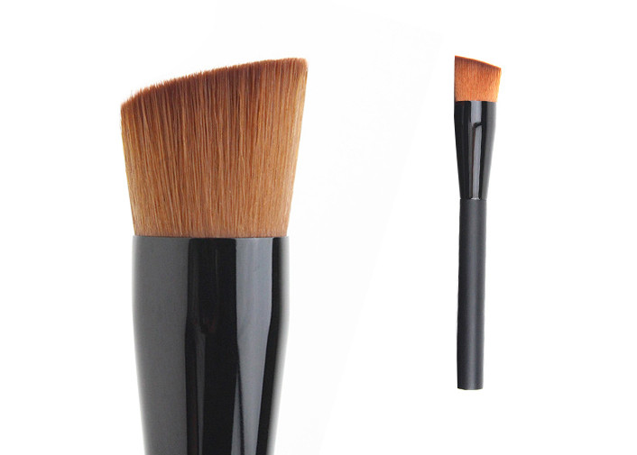 Woman Black Foundation Bevel Brushes With Brown Hair / Black Ferrule