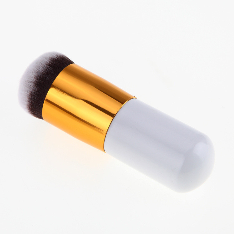 White Powder Foundation Brush With Silver And Gold Pipe  Nylon Hair Chubby