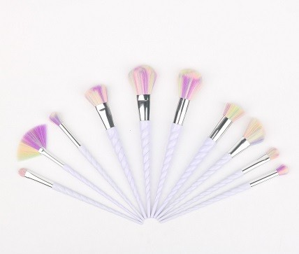 11 Pcs Private Label Professional Makeup Brush Set White Unicorn Brushes With Package