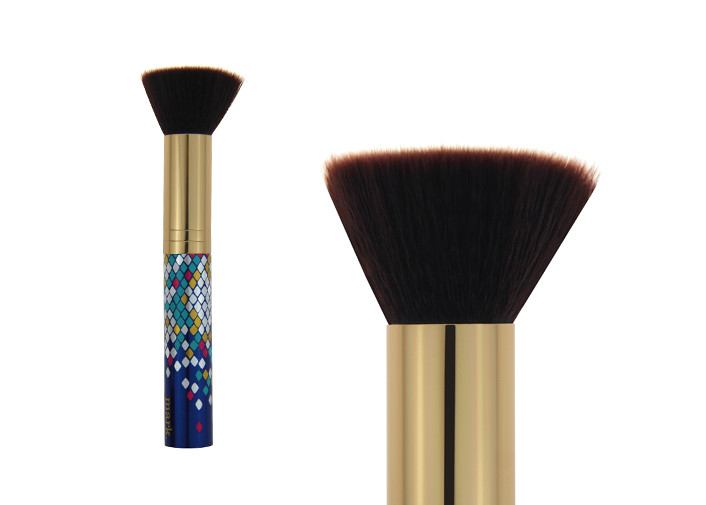 Travel Nylon Hair Flat Contour Makeup Brush / Tapered Contour Brush