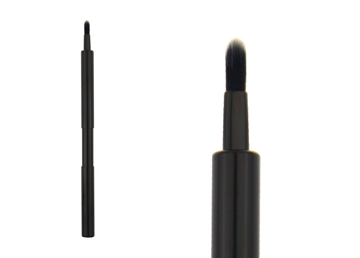 Nylon Hair Tan Retractable Lipstick Brush Cosmetic Makeup Lip Brush Black