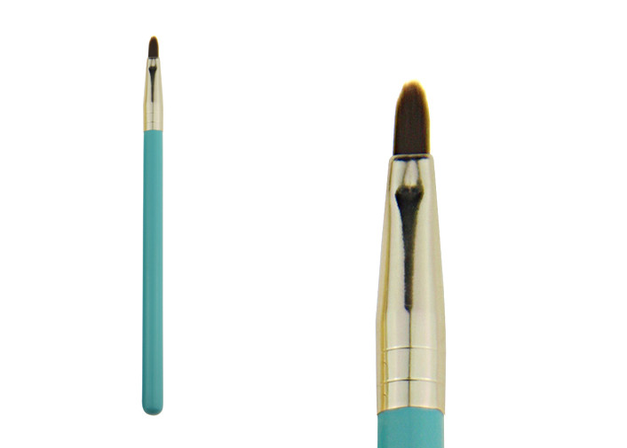 Private Label Synthetic Hair Makeup Lip Brush Flat Liner Brush Green Color
