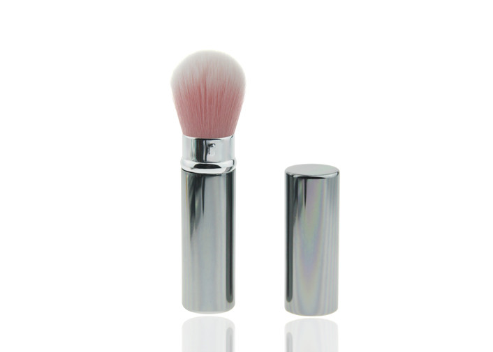 Goat Hair Retractable Foundation Brush Flexible Blush Brush With Metal Handle